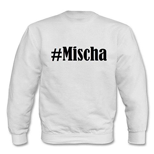 Reifen-Markt Sudadera Hashtag #Mischa para mujer, hombre y niños en los colores negro, blanco y azul con impresión Blanco XS