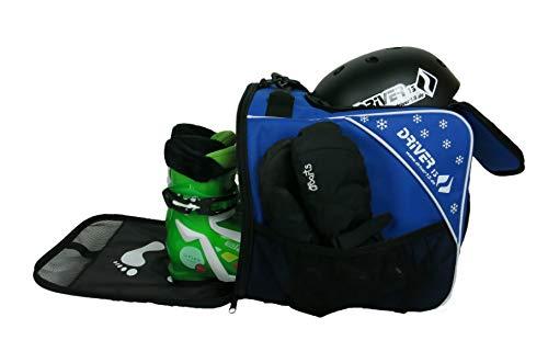 Driver13 Kinder Skischuhtasche Skistiefeltasche mit Helmfach für Hart Softboots Inliner und Bootbag Tasche blau