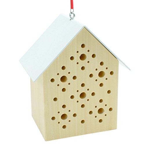 4betterdays.com NATURlich leben! Bienenhotel/Bienenhaus aus Lindenholz und Stahlblech - Länge: 14,5 cm, Breite: 10 cm, Höhe: 19 cm - Zum Aufhängen - Handarbeit aus Deutschland