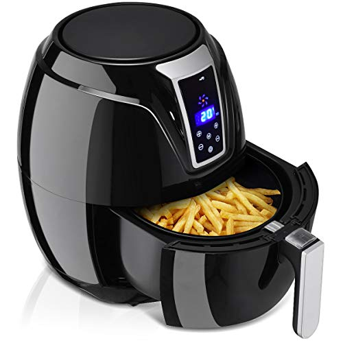 GOPLUS Fritteuse Heißluftfritteuse Luftfritteuse, fett-frei Frittieren, schwarz, einstellbare Temperatur, 1400W, 3,2 L, 34 x 33 x 29cm