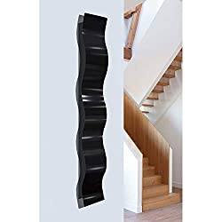 Statements2000 Black Satin Finish 3D Abstract Metal Wall Art Sculpture Wave - Modern Home Décor by Jon Allen - 46.5 x 6