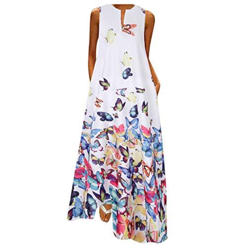 Kleid Sexy Damen Kleidung Sommer Maxikleider Damen Sommerkleid Petticoat Kleid Kleid Blau Cosplay Kleid Stillkleid Sommerkleid Damen Große Größen Tunikakleider Sommer Midikleider(Weiß,M)