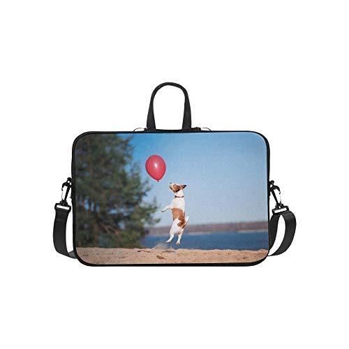 15.6″Lightweight Laptop Notebook Shoulder Backpack Bag Dog Jack Russell Terrier Jumps Air Waterproof PC Briefcase Messenger with Strap