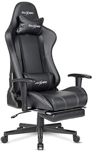 GALAXHERO ゲーミングチェア オフィスチェア 多機能 オットマン ゲーム用チェア 事務椅子 パソコンチェア リクライニング ハイバック ヘッドレスト 腰にやさしいランバーサポート 昇降できるひじ掛け PUレザー ADJY611BL