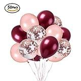 """Ohighing 50Pcs 12"""" Ballons Rose Gold et vin Rouge Ballons Confettis Rosegold pour fête décorations Ballon Helium Ballons Anniversaire Ballons Mariage"""
