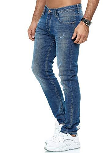 Red Bridge Herren Jeans Hose Slim-Fit Distressed Faded Wave (W29 L32, M4251 - Blue)