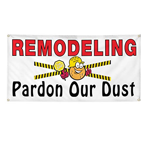 Vinyl Banner Multiple Sizes Remodeling Pardon Our Dust C Business Outdoor Weatherproof Industrial Yard Signs 10 Grommets 60x144Inches