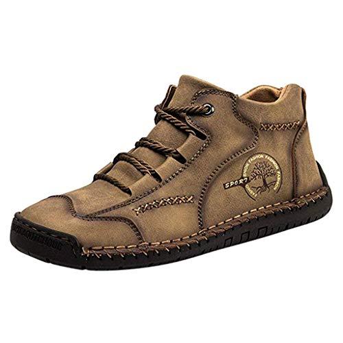 Alwayswin Outdoor Herren Freizeitschuhe Atmungsaktive Vintage Loafers Comfort Soft Fahrschuhe Stiefeletten Schnürschuhe Slipper Flats Retro Handgetäfelte Freizeitstiefel Booties