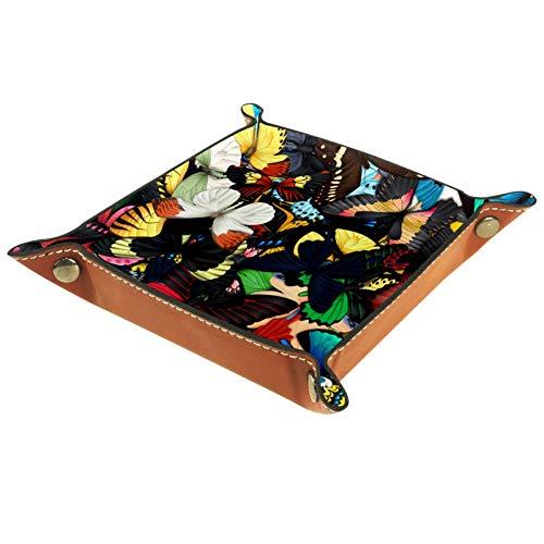 BestIdeas Cesta de almacenamiento cuadrada 20,5 x 20,5 cm, con mariposas, caja organizadora en la mesa para el hogar, oficina, dormitorio, Piel de microfibra., Mariposas, Small