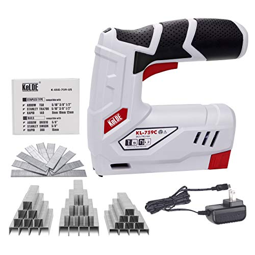 Cordless Staple Gun Kit, KeLDE Electric Stapler/Nailer, 2000mAh 3.7V Li-ion Battery, Includes 1500pc T50 Staples and 500pc 15mm Brad Nails