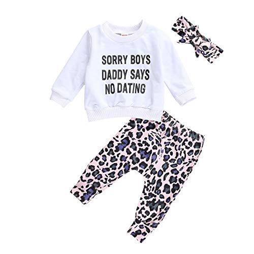 Carolilly 3 Pezzi Completo Bambina Neonata Tuta Bambina Stampa Leopardata Felpa Senza Cappuccio Maglietta a Manica Lunga Bianco+ Pantaloni +Fascia con Fiocco