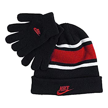Nike Boy`s Futura Foldover Beanie & Glove 2 Piece Set  Black 9A2837-R1N /Red 8-20