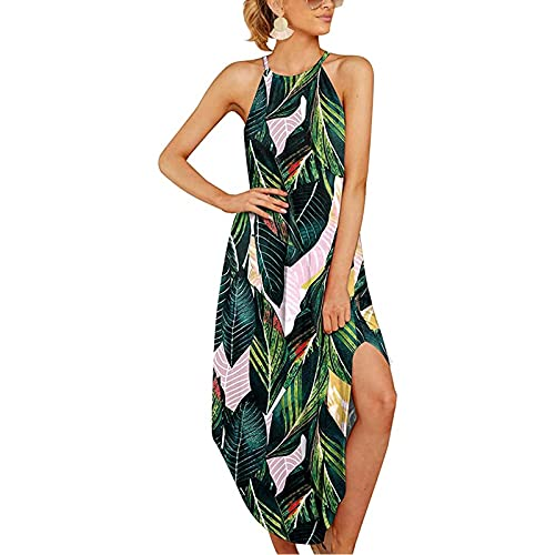 YANFANG Vestido Cortos Playa,Vestido Suelto Camisola Todo FóSforo De Verano con Estampado Casual para Mujer,Vestidos Mujer Cortos,Vestido Noche Ajustado, Casual, Vestido Estilo,Verde,XL