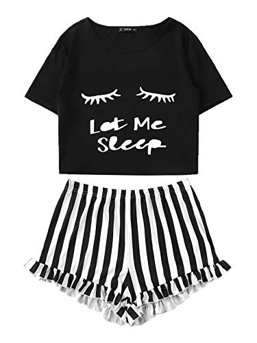 DIDK Damen Kurz Schlafanzug mit Slogan Pyjama Set Streifenhose Hausanzug Sommer Sleepwear Schwarz L