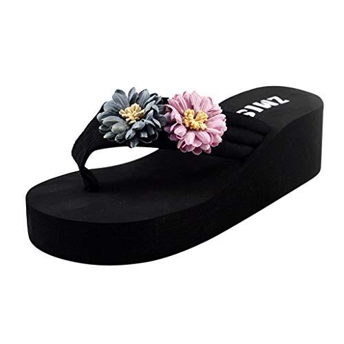 Luckycat Sandalias y Chancletas Mujer Verano 2019 Zapatos de Playa con Sandalias de Tanga de Fondo Grueso Moda Retro Playa Sandalias de Plataforma Zapatillas Moda Sandalias