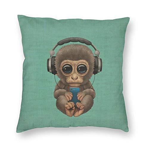Funda de cojín con diseño de dibujos animados, diseño de mono para bebé, decoración del hogar, para hombres, mujeres, niños, niñas, sala de estar, dormitorio, sofá de 50 x 50 cm