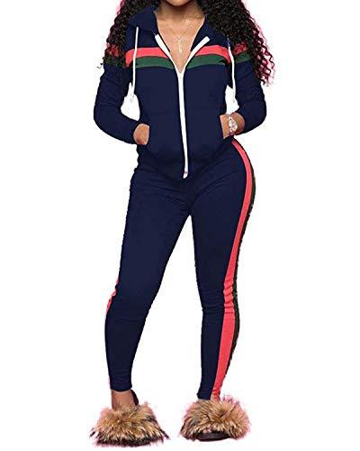 Top-Vigor Women's 2 PCS Plus Size Tracksuit Sets Sweatsuits Outfits Hoodie Sweatshirt and Jogging Sweatpants Suit
