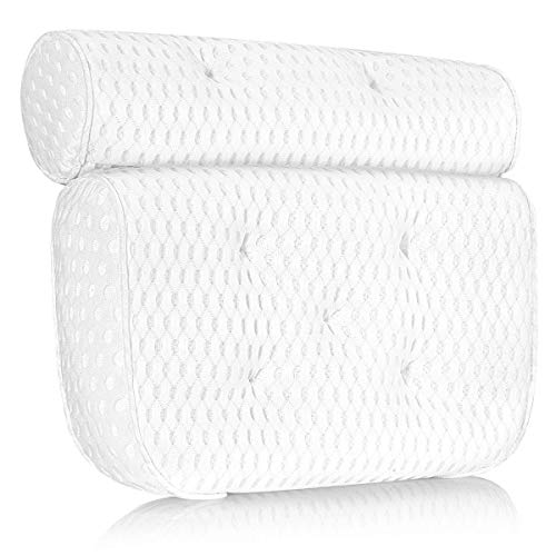 Mosuch Bath Pillow for Head Neck and Shoulder Support, 4D Air Mesh Luxury Spa Bathtub Pillow with 7 Non-Slip Suction Cups Large and Soft Bath Pillows Fits All Bathtub, Hot Tub, Jacuzzi and Home Spa