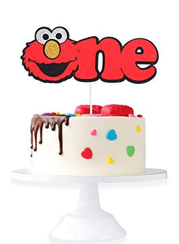 Elmo One Birthday Party Cake Topper - Sesame Street Elmo Glitter Baby's 1st Birthday Cake Décor - Novelty Wild One Year Old Baby Shower Decoration