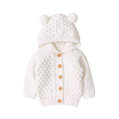 Baby Girl Knit Cardigan Sweater Hoodies Warm Tops Toddler Infant Bear Ear Outerwear Jacket Coat Outfit Clothes (White, 6-12 M)