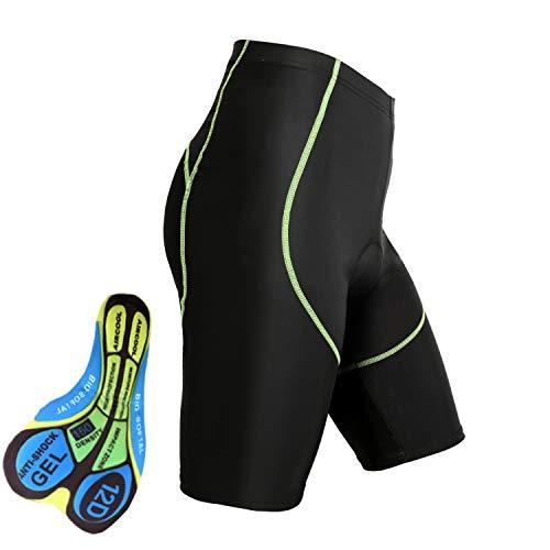 BRZSACR Cycling Shorts Men's 3D Padded Bike Riding Pants,Sports Biking Shorts Men Bicycle Tights,Breathable,Soft (Green, XX-Large)