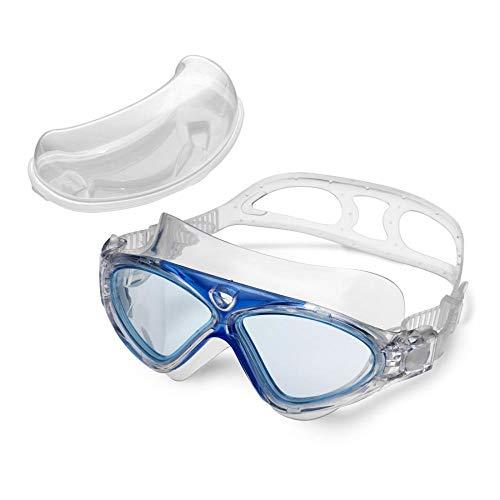 Xixik Premium Transparent Lunettes de Natation Lunettes de Natation Lunettes de Natation Anti-UV Anti-buée Protection pour Adultes Homme Femme Enfant Enfant Enfant Bleu