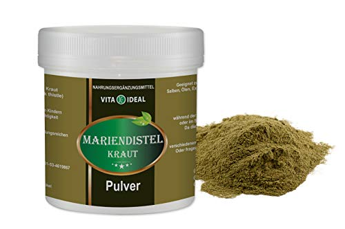 VITA IDEAL ® Mariendistel Kraut PULVER 300g (Silybum marianum, Milk thistle) + Messlöffel