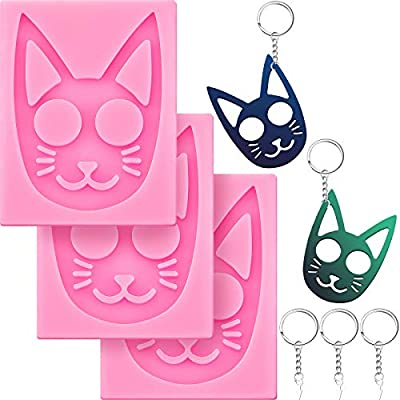 Self-Defense Cat Keychain Silicone Molds Glossy...