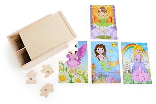 Small Foot - 10173 - Boîte de Puzzle 4-en-1 - Fillettes Costumées