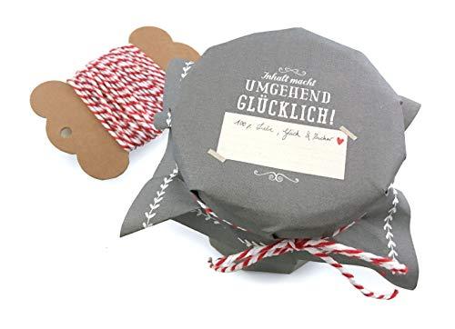 25 Marmeladendeckchen - umgehend glücklich - Gläserdeckchen Grau Weiß für Marmelade, Marmeladengläser & Einmachgläser, Recyclingpapier Abreißblock + 10 m Garn + Justiergummi