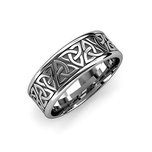 TriJewels High Polish 7mm Flat Celtic Trinity Knot Unisex Wedding Band 14K White Gold.Size 10.0