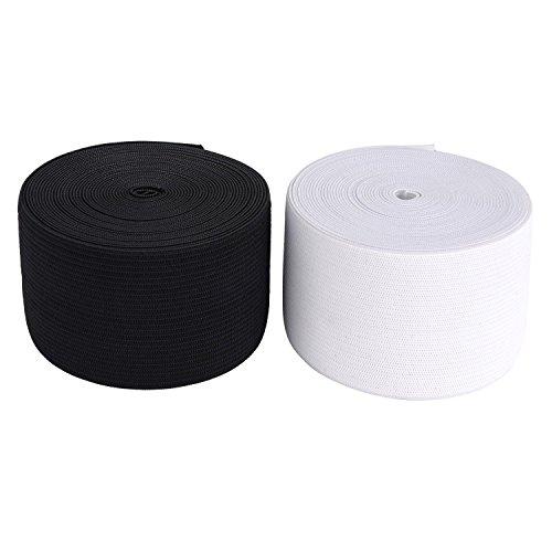 Gummiband 3 m Kleidung und Haushalt DIY Handwerk 3 Meter, 5 cm in breit Schwarz oder Weis (Schwarz)