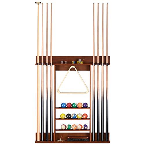 Sunix Porta Stecche da Biliardo Porta Stecche in Legno Porta Stecche da Biliardo Supporto da Parete per 8 Stecche da Biliardo Accessori per tavoli da Biliardo