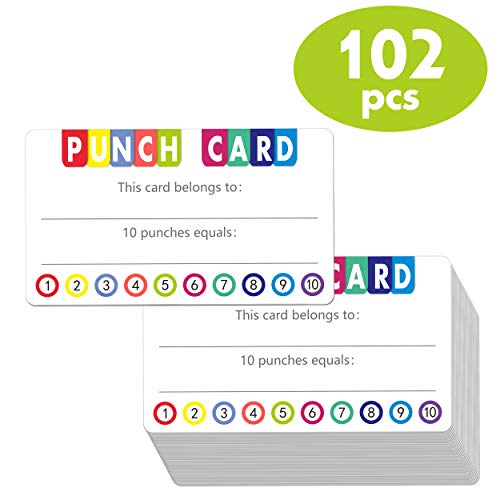 102 PCS Punch Cards Incentive Loyalty Reward Card for Classroom Business (3.5' x 2')