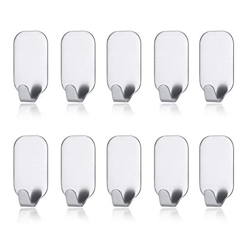 MXtechnic Self Adhesive Hook Stick on Wall 304 Stainless Steel Polished Hanging Clothes Coat Hat Hooks and Strong Heavy Duty Metal Super Power Hooks Storage Organizer (10 Pack) (Hooks-10)