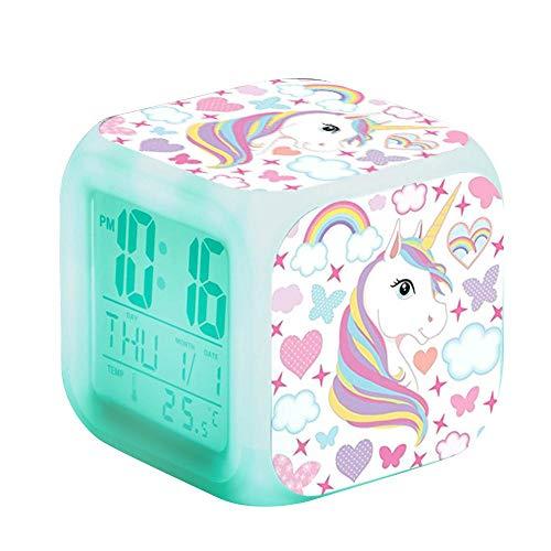 Layopo - Reloj despertador digital para niñas, LED de noche brillante para niños, mesita de noche con termómetro y alarma y regalo de fecha para niños y mujeres