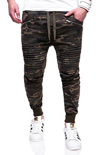 behype. Herren Lange Trainingshose Jogging-Hose Sport-Hose Biker 60-2092 Camouflage-Khaki M