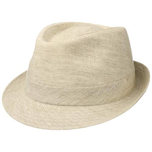 Stetson Trilby de Lino Geneva Mujer/Hombre - Made in Italy Sombrero Tela Verano Sol con Forro Primavera/Verano - 57 cm Beige