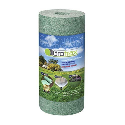 Grotrax Biodegradable Grass Seed Mat | Quick Fix Roll | All in One Growing Solution for Lawns, Dog Patches & Shade | Just Roll, Water & Grow | No Fake or Artificial Grass | Year Round Green, 50sqft