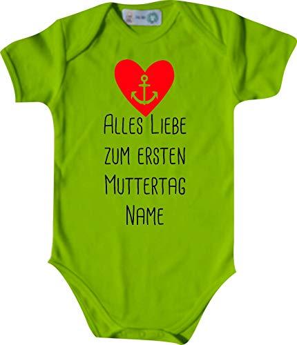 Shirtinstyle Body Todo Amor para Primeros Día de la Madre Solicitud Nombre Name Texto, Manga Corta Body de Bebé, Bebé, Nacimiento, Bautizo, Pelele - Lima, 74-80
