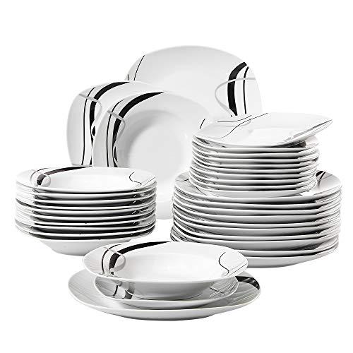 Veweet FIONA 36pcs Assiettes Pocelaine Service de Table 12pcs Assiettes Plates 24,7cm, 12pcs Assiette Creuse 21,5cm, 12pcs Assiette à Dessert 19cm Vaisselles pour 12 Personnes