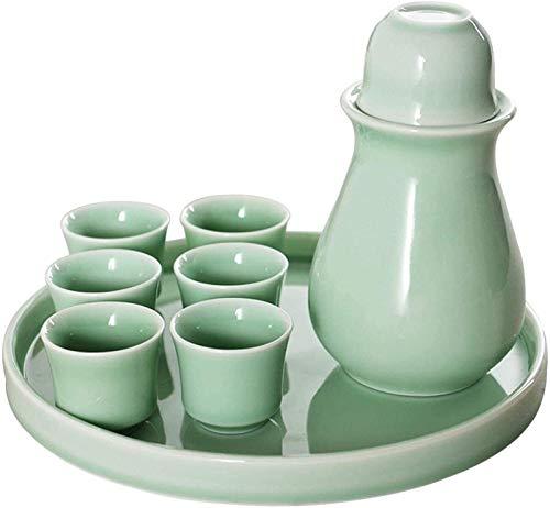 LYYF Conjunto Retro japonés Conjunto con cálculo de cerámica Mantenga y Bandeja, Porcelana Tradicional 9 Pieza Adecuada para el Hotel de Negocios Infuser Picnic al Aire Libre 2119 (Color : Blue)