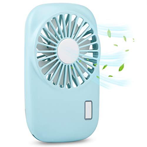Accering Mini Ventilador de Mano 2 Speed Adjustable, USB Portable Ventilador Handheld Fan Plegable de la Batería Recargable (Azul)