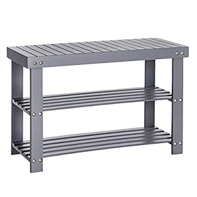 SONGMICS Sturdy Shoe Rack Bench,3-Tier Bamboo Shoe Organizer,Storage Shelf Holds Up to 264 Lbs,Ideal for Entryway Bathroom Living Corridor ULBS04GY
