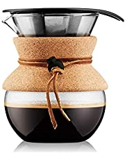 Bodum POUR OVER Koffiezetapparaat (permanent filter, vaatwasmachinebestendig, 1,0 L/33 oz) - Rood