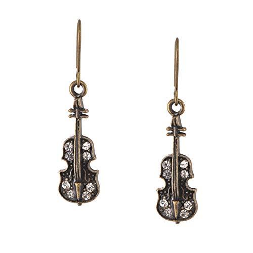 Spinningdaisy Antique Bronze Musical Instrument Earrings Crystal Violin