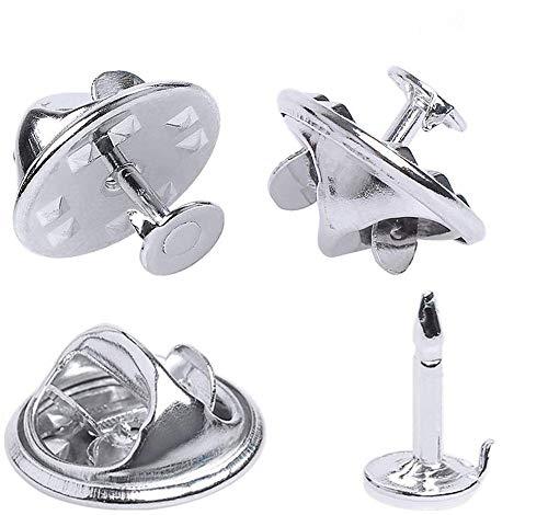 Mariposa Clutch Metal Pin Back Cierre de Broche de Cierre,50 Piezas Con Parte Posterior de Embrague para DIY Craft manualidades (Plata)