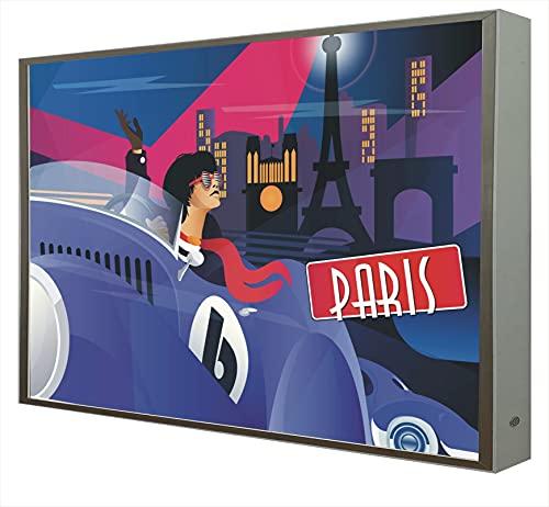 Quadro con cornice in legno laccato bianco illuminato con luce LED serie Pop Art: Paris