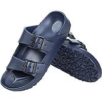 DL Men's Double Buckle Open Toe Waterproof Slides Sandals with Non-Slip Ethylene Vinyl Acetate (EVA) Sole (various sizes/colors)