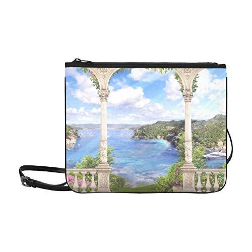 WYYWCY Hermosa arquitectura mediterránea Paisaje Patrón Personalizado De alto grado Nylon Slim Clutch Bag Cross-body Bag Bolsa de hombro